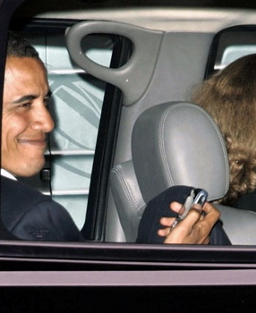 Obama Checks his Blackberry 8700c Model